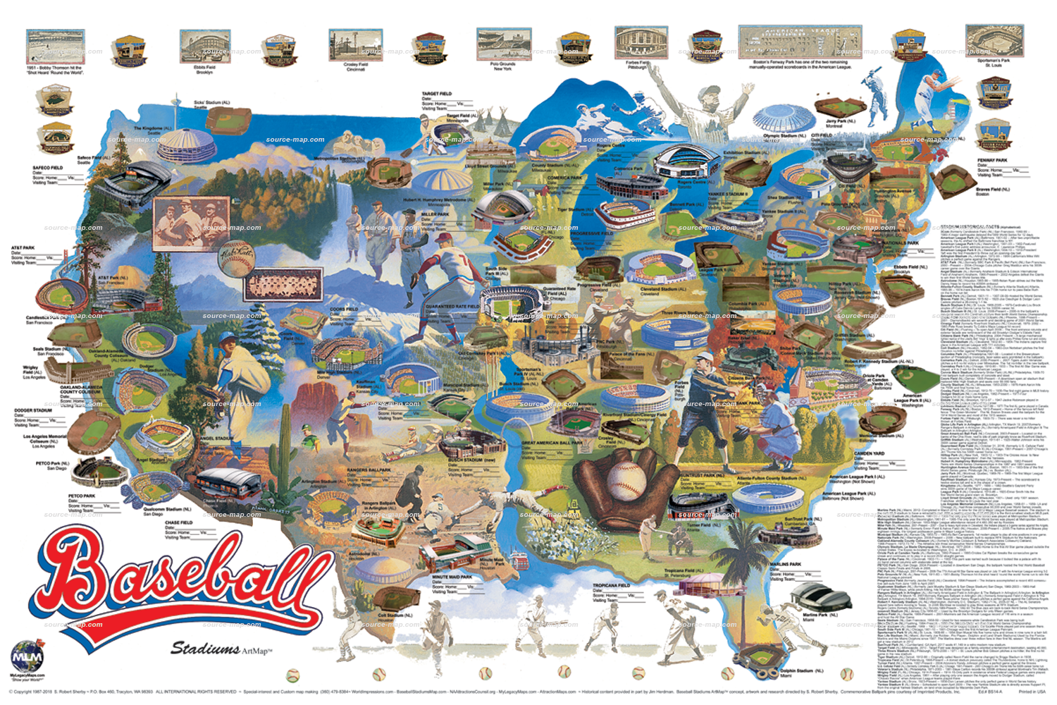 Baseball Stadiums Adventure Map