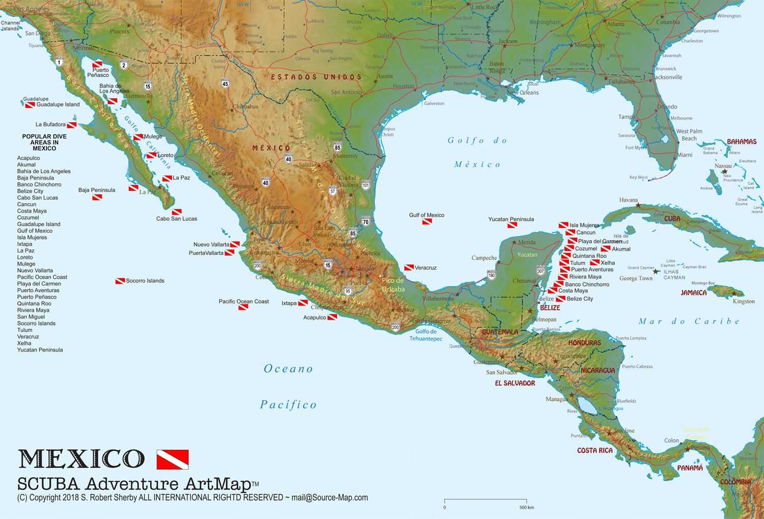 Mexico SCUBA Adventure Map