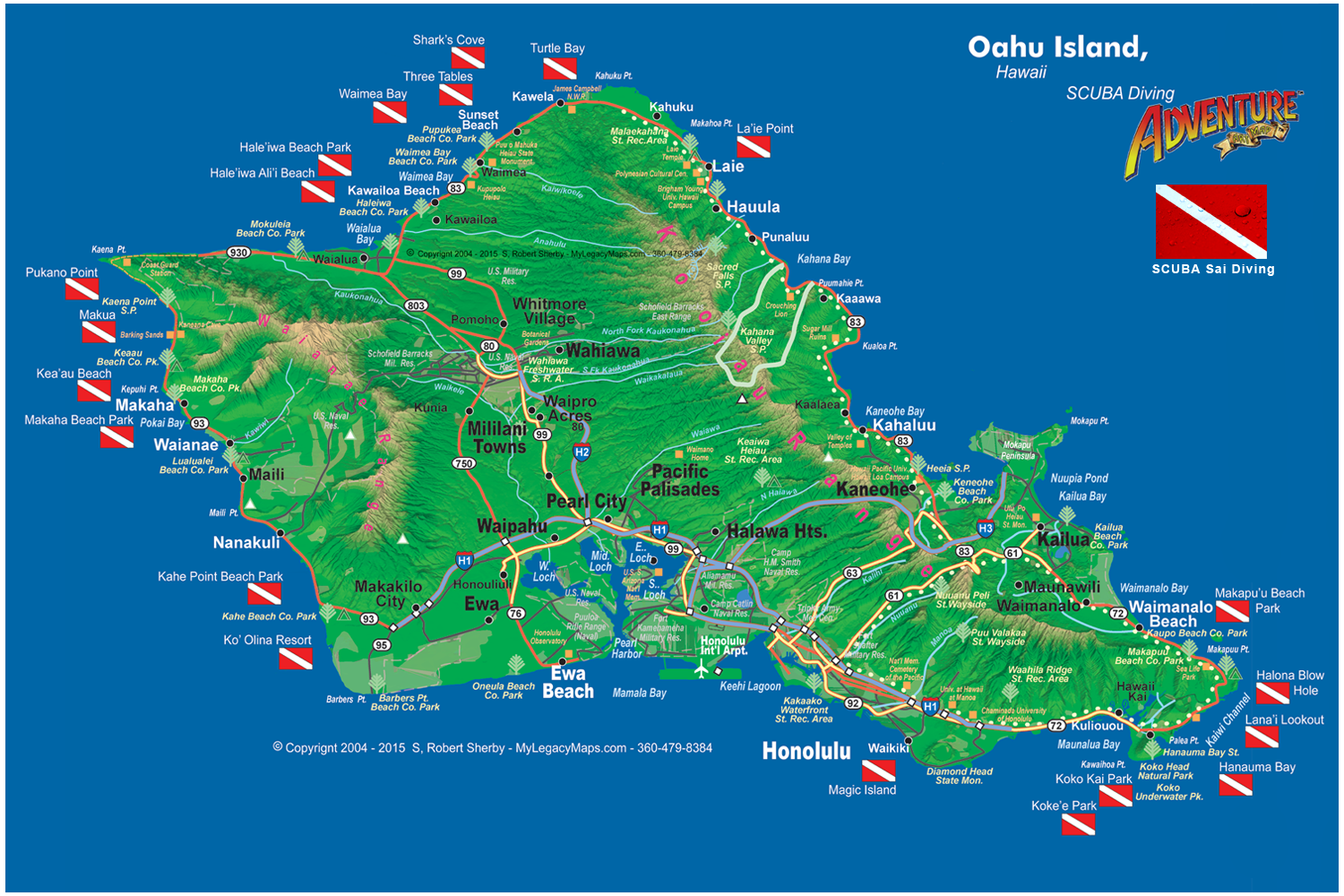 Oahu SCUBA Adventure Map